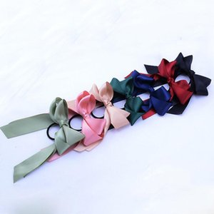 6 Color fashion Kids Girls Ponytail Scarf Elastic Hair Rope for Women Hair Bow Ties Scrunchies Hair Bands Flower Print Ribbon Hairbands