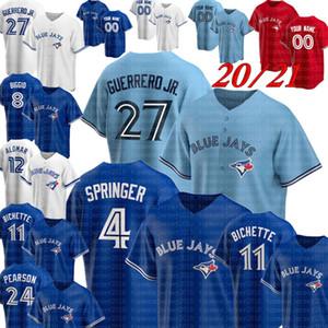 Vladimir Guerrero Jr. Toronto Jersey Blue George Springer Baseball Jerseys Bo Bichette Cavan Biggio Joe Carter Nate Pearson Roberto Alomar