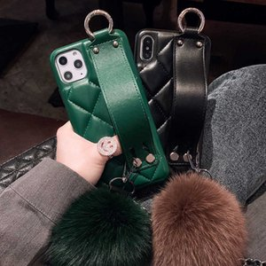 Fashion Wrist Band Lambskin Leather Case Cover With Fox Fur Ball Pendant Hand Strap For Iphone 11 Pro XS Max XR X 8 7 6 6S Plus SE 2020
