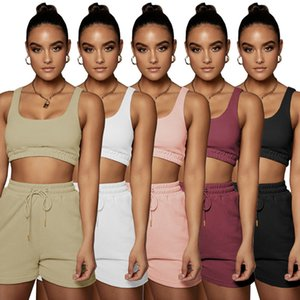 Summer tracksuits Women jogger suit tank top crop top+shorts running two piece set plus size 2XL outfits embroidery logos sportswear sleeveless T-shirt+shorts 4635