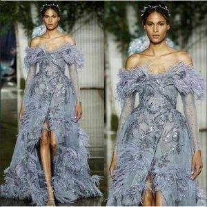 Роскошные перья вечерние платья линия с плеча сексуальная раскол на заказ Pageant Prom платье с длинными рукавами Элегантное шикарное халат де Марие