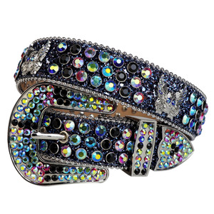 Western Cowboy Belt Fashion Cowgirl Bling Bling Rhinestone Belt with Eagle Concho Studded Removable Buckle Large Size Belts for Men