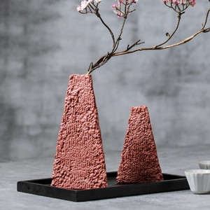 Porcelain 15CM 22CM INS flower vase ceramic Handmade Nordic flower pot Retro style Chinese Home Decor