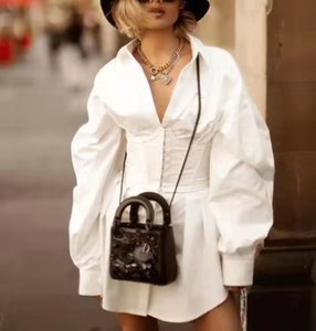 French spring star with the same high waist white shirt dress(with belt )