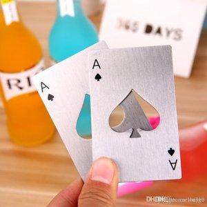 Yaratıcı Poker Kart Bira Şişe Açacağı Bar Araçları Soda Şişe Açacağı Taşınabilir Dayanıklı Siyah Gümüş Maça Oyun Kart Açacağı DH1245 T03