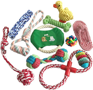 Buracdcn 11 Piece Dog Rope Toys Tug of War Dog Toy Bundle Toothbrush IQ Treat Ball Squeaky Rubber Dog Chew Toys for Puppies Teething