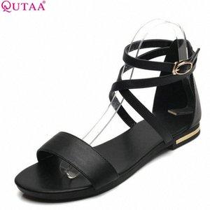 QUTAA 2018 Kadın Sandalet Ayak Bileği Kayışı Tüm Maç İnek Deri + PU Toka Siyah Kadın Ayakkabı Düşük Topuk Sandalet Boyutu 34 43 Rahat Ayakkabılar Y5RY #
