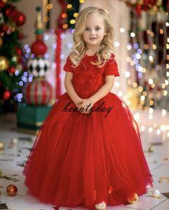 2021 Neue Blumenblume Mädchen Kleider für Hochzeit Kinder Formale Tragen 3D Rose Blume Kurze Ärmel Ganzkörperansicht Reißverschluss Zurück Geburtstagsfeier