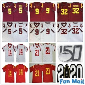 NCAA 150th USC Trojans # 5 Reggie Bush 9 Kedon Slovis 21 Jackson 14 Sam Darnold 32 OJ Simpson 43 Troy Polamalu Koleji Futbol Formaları