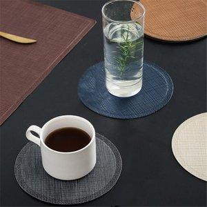 Deri Yuvarlak Placemat Yemek Masası Yalıtım Kaymaz Deri Placemat Mutfak Masa Mat Kahve Fincanı Mat