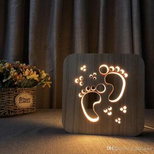 Yaratıcı Ahşap Ayak İzi Gece Işıkları LED Masa Gece Lambası Ahşap Masa Lambası Atmosfer Lambası Yenilik Aydınlatma