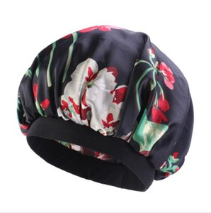 NightCap Turban Floral Print Hat Head Wraps Turban Flower Soft Удобно имитируемая шелковая ткань химиотерапия крышка сатин BONNET KKD5050
