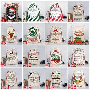 25 styles 50*70cm Christmas Decorations Candy Bag Gift Santa Claus Elk Printed Canvas Bags Party Festival Drawstring Sack GWD10536