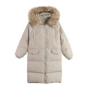 Winter Big Size Women Parkas Long Parkas Big Fur Collar Hooded Womens Cotton Coat Thick Warm Jacket Women Outwear J882