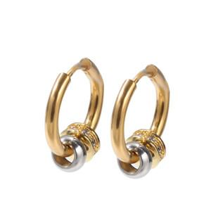Orecchini di moda oro colore cubico zircone cerchio orecchini cz diamante acciaio inox fibbia per le orecchie per le donne uomini punk hip hop gioielli accessori