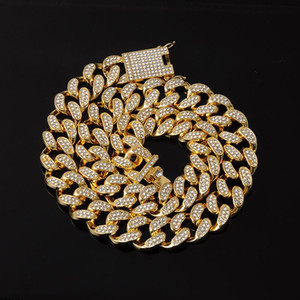 "US7 Iced Out 20MM Miami Cuban Link Chain Bling Rhinestone 16''18""20""24"" Hip Hop Necklaces For Rappers Men Women Jewelry Gifts"