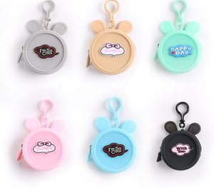 10pcs Women silica gel Cartoon Circle coin purse Mix Color Kids Zipper Min Wallet