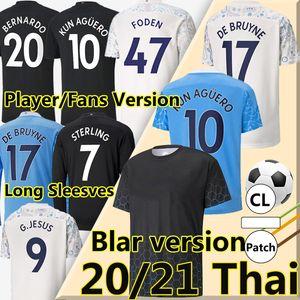 20/21 Balr Player Версия Футбол Джерси Сити 2020 2021 Фанаты Foden Sterling de Bruyne Kun Aguero Whult + Kids Kits с длинными рукавами Футбольные рубашки