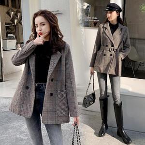 Karolyidora Hundstooth Wooled Coat Woolen Coat Donne 2021 Abbigliamento invernale Nuovo prodotto Prodotto coreano spessore popolare di lana