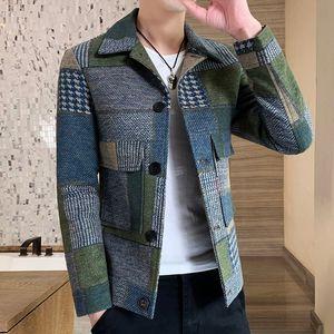2021 New Warm Long-sleeved Plaid Gentleman Pockets Coat Korean Casual Men's Stitching Fashion Slim Fit Jacket 33oy