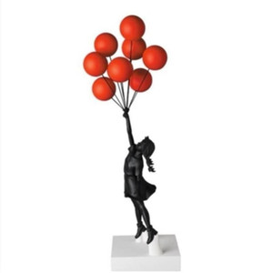 Luxurious Balloon Girl Statues Banksy Flying Balloons Girl Art Sculpture Resin Craft Home Decoration Christmas Gift 57cm Fast