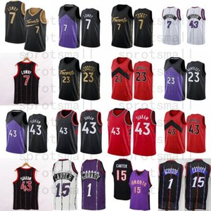 Kyle 7 Lowry Fred 23 Vanvleet Pascal 43 Siakam Basketball Jersey Tracy 1 McGrady Vince 15 Carter Camisa Retro