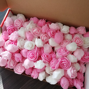 3cm PE Foam Artificial Flower Decorative Teddy Bear Rose Bouquet For Home Wedding Flowers Decoration Wreath Fake Flower 100pcs