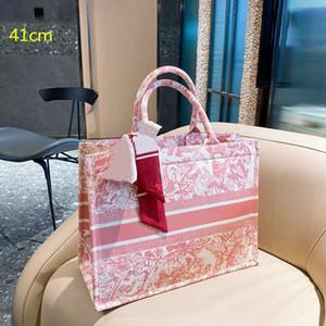 2021 donne ricamo borse in seta sciarpa di seta taglia borse di lusso borse da studio lady tela borse moda donne shopping sacchetti D21021802