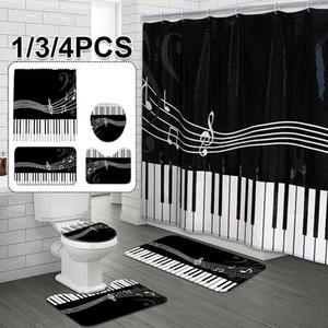 1/3 / 4 pcs piano teclado Banheiro conjunto de coração padrão À Prova D 'Água Duche Curtain Cobertura Toilet Tapete Non Slip Rug