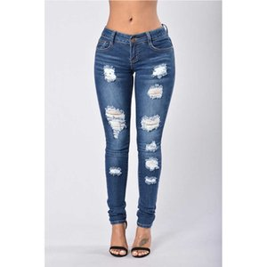 Jeans Woman Casual Mid Waist Skinny Hole Ripped Jeans for Women Fashion Denim Blue Pants Streetwear Plus Size Jeans Mujer D25 Cx200821