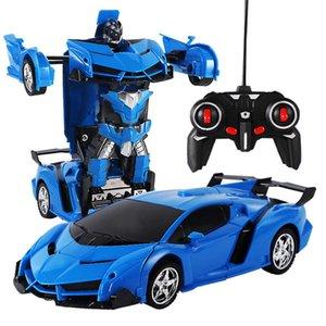 1 18 RC Car Rotating Toy One Button Transformer Remote Control robocar super sports car Children's Gift H1013