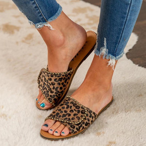 Fashion Beach Shoes For Women Breathable Leather Ladies Platform Sandals Leopard Print Flat Casual Sandals Party Female Slippers