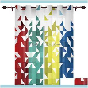 Curtain Deco El Supplies Home Gardencurtain & Drapes Kitchen Window Curtains Geometric Triangle Mosaic Adult Children Bedroom Decoration Liv