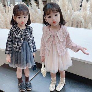 Girls princess clothes sets kids plaid lapel long sleeve blazers outwear+sequins lace tulle vest dress 2pcs lady style children outfits Q2561