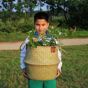 Whism SeaRass Rattan Wogle Flower Basket Baske складной ручной ткань