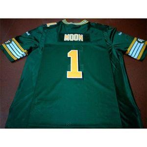 001 Edmonton Eskimos # 1 Уоррен Луна Белый Зеленый Реал Полная Вышивка Колледж Джерси Размер S-4XL Или пользовательское Имя или Номер Джерси
