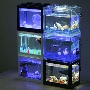 7 색 작은 빌딩 블록 물고기 탱크 LED 조명 맑은 물고기 장식 수족관 사무실 장식 수족관 애완 동물 용품