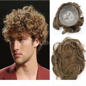 High Quality Light Brown Brazilian Virgin Hair Wavy Men Toupee Thin Skin Brown Toupee Free Shipping