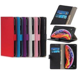Funda de cartera de cuero de PU de color sólido para iPhone 11 x 7 8 con ranura para tarjeta Soporte Sksung Huawei Moto 6 colores opcionales