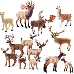 Simulation Elk Spielzeug Hirschfiguren Set, Weißschwanz-Kitz-Spielzeug Woodland-Tiermodell-Familienfiguren Kuchen Toppers Toys C0220