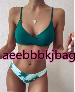 sports bikini Sets Leopard Print swimsuit Women's one piece Color matching gradient tie dye Ring stitching of special fabric for split