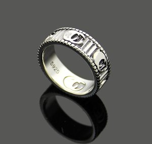 high Quality 925 silver Extravagant Simple letter Love Ring 316L Stainless Steel white gold Couple Rings Fashion Women men Jewelry Lady Party Gifts 4mm 6mm