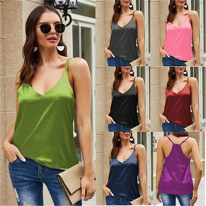 Casual Camisole Tanks Womens Solid Color Vest Fashion Trend Silk Sling Sleeveless Tops Vest Summer Female New Deep V Neck Sexy