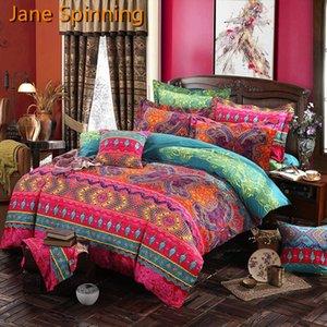 Jane Spinning Bohemian Couetter Literie Ensembles de la couverture de couette Mandala Set Taie d'oreiller Queen King Size KK02 # C0223