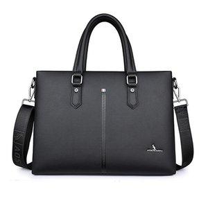Briefcases Business Bag Men's Leather Handbag Horizontal Computer Briefcase Shoulder Cow