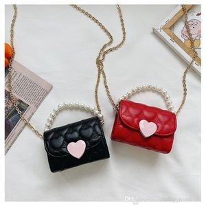 Children pearl chain handbag cute princess kids one shoulder bags fashion baby girls crossbody bag woman mini heart embroidered wallet F603