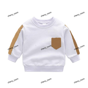 Spring Baby Boys Girls White Sweatshirts Fashion Designer Kids Plaid Round Collar Long Sleeve Tee Shirt Tops Children Bottom Shirt F110