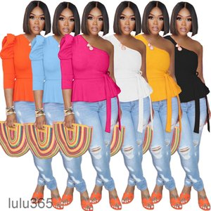 Plus Size Womens T Shirts Solid Color Slanted Shoulder Puff Sleeve Top Fashion Sexy Backless Women Clothing lulu365