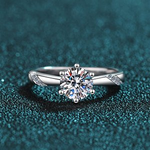 s925 sterling silver diamond ring female 1 carat simulation moissanite genuine counter wedding birthday gift