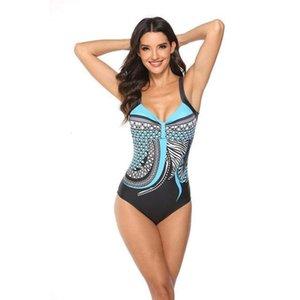 2020 새로운 샴 레트로 인쇄 백리스 섹시한 수영복 레이디 섹시한 비키니 양복 레이디 슬링 수영복 양복